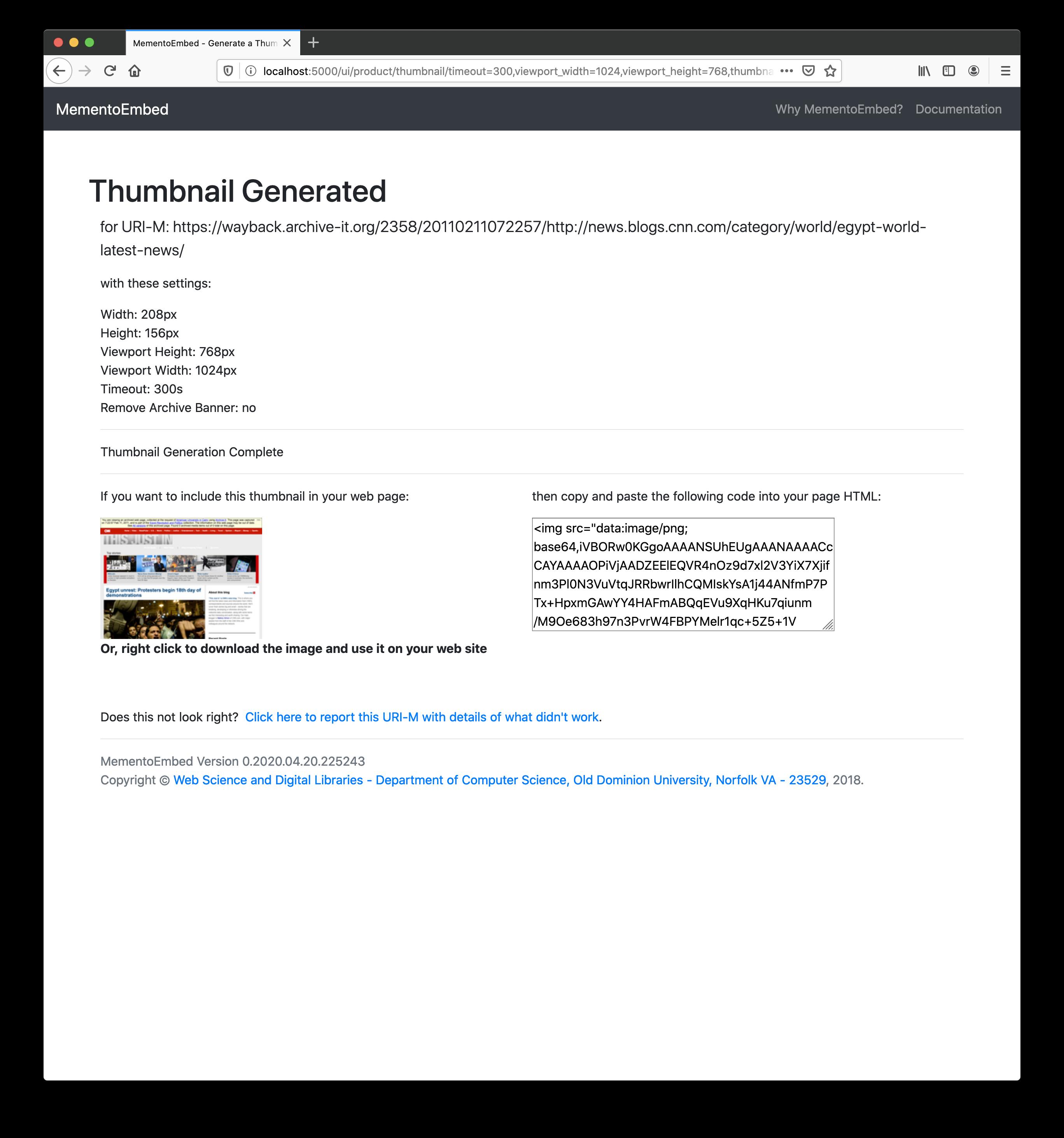 User Interface — MementoEmbed 0 2019 06 13 193454 documentation